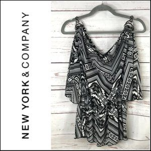 *3/$18*New York & Co. Geo Print Cold Shoulder Top